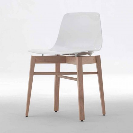 Scaune din lemn modern de lemn de stejar și plastic alb din design modern - Langoustine