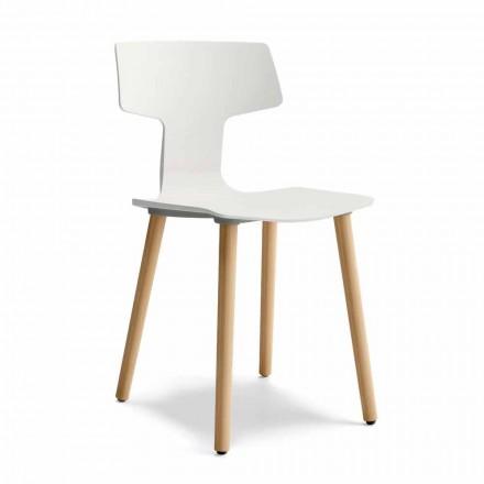 Scaun de sufragerie din lemn și polipropilenă Fabricat în Italia, 2 bucăți - Trifoi