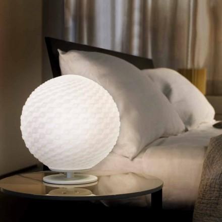 Selene Domino din lampă de masă albă din sticlă suflată Ø27 H 30cm