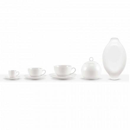 Set de 18 pahare de cafea și ceai cu bol de zahăr și tavă de porțelan - Lucerna