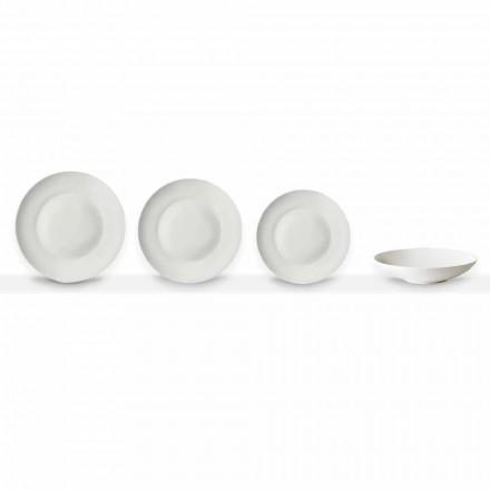 Set de 24 de farfurii albe de porțelan alb cu design clasic - Romilda