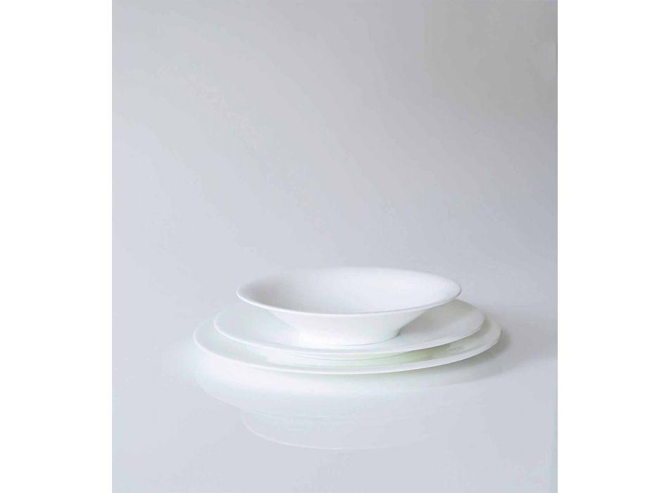 24 Plăci de cină elegante în design de porțelan alb - Doriana