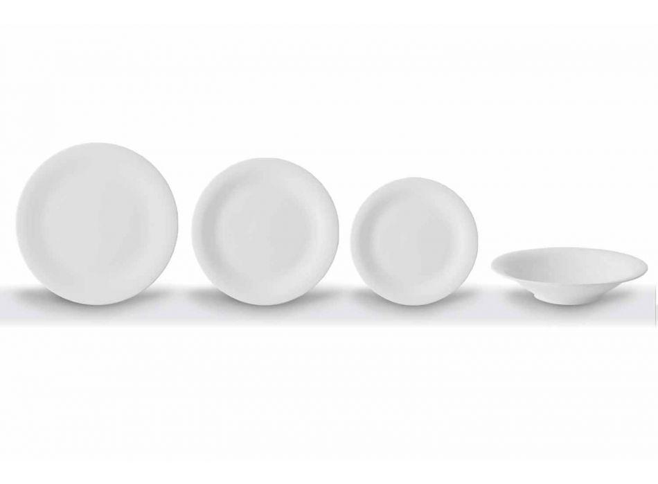 24 de farfurii elegante din porțelan alb - Doriana