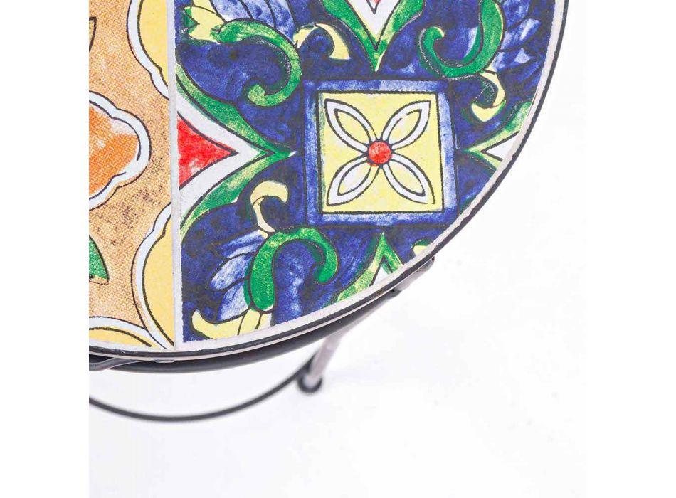 Service 3 Mese rotunde de grădină din oțel și decorațiuni - încântătoare