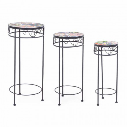3 mese rotunde exterioare din oțel cu decorațiuni de design - încântătoare