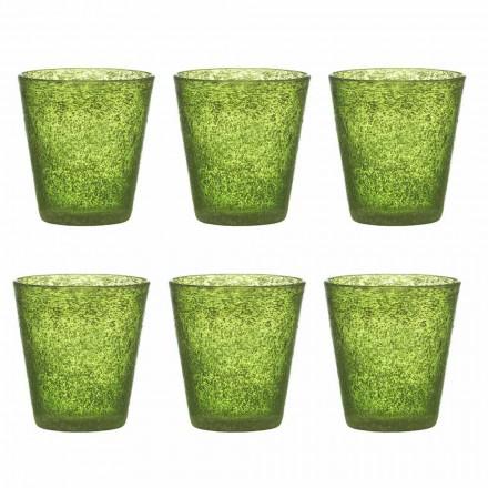 Set de 12 pahare din sticlă suflată colorate cu un design modern - Pumba