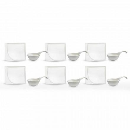 Serviciu aperitiv 12 bucăți moderne de porțelan alb, plăci de design - Nalah