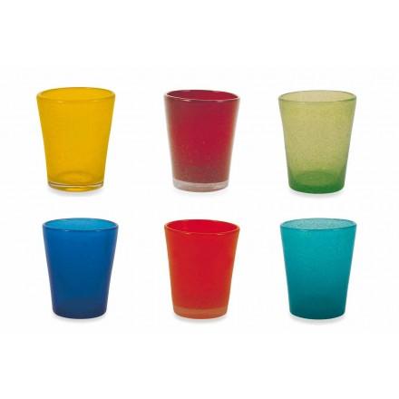 Serviciu de sticlă cu apă 6 bucăți de sticlă suflată și colorată - Folositul Yucatan