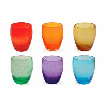 Serviciu de sticlă cu apă în sticlă colorată și modernă 6 bucăți - Guerrero