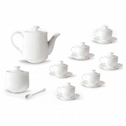 Serviciu complet de pahare de cafea 21 bucăți în porțelan alb - Samantha