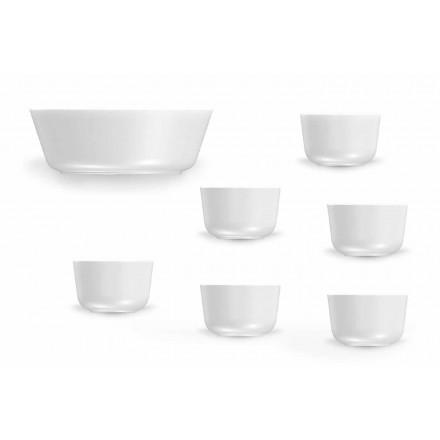 Set cupe și boluri din porțelan alb de design modern 7 bucăți - Arctic