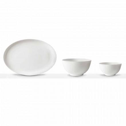 Set de servire din porțelan alb Placă ovală și bol 10 bucăți - Romilda