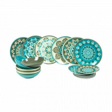 Set de veselă din porțelan colorat 18 bucăți - Eivissa