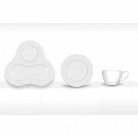 Set complet de ceai Design modern în porțelan alb 14 bucăți - Telescop