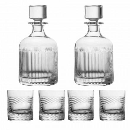 Set de whisky din cristal ecologic de lux din 6 piese - tactil