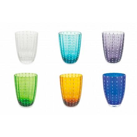 Set de 12 pahare moderne de design din sticlă colorată pentru apă - Botswana