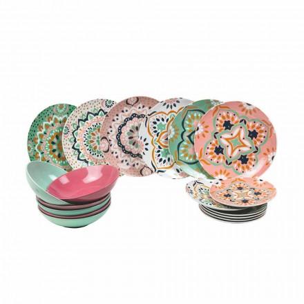 Set de articole de masă colorate din porțelan 18 bucăți - Playasol