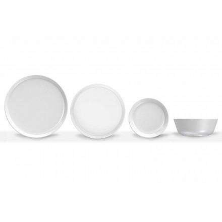 Set de cină din porțelan alb, modern, 24 piese - Arctic