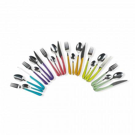 Serviciul de tacâmuri colorate 24 de piese în design din oțel și plastic - Algeria