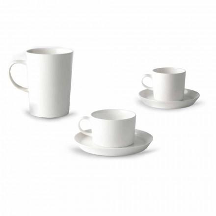 Serviciu de ceașcă de cafea, ceai și mic dejun 30 de bucăți în porțelan alb - Egle