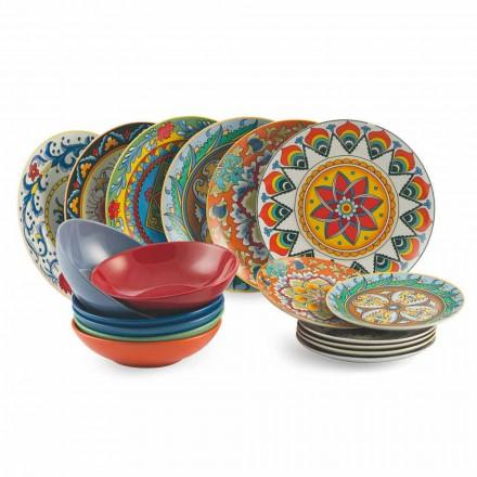 Set de plăci de cină colorate 18 piese din porțelan și gresie - Renaștere