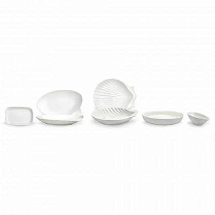 Set de vase de porțelan alb, setate 30 bucăți - Nalah