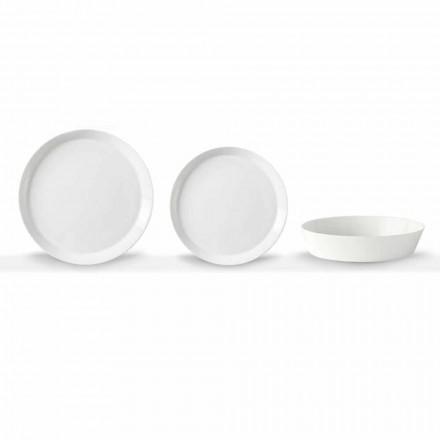 Set elegant de placă de cină din 18 piese din porțelan alb, design elegant - Egle
