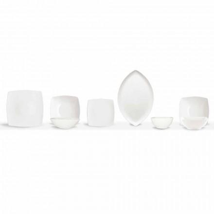 Placi de cină albă Serviciu pătrat și design modern 26 bucăți - Usima