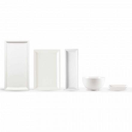 Set de plăci de cină moderne din porțelan alb 25 bucăți - bazal