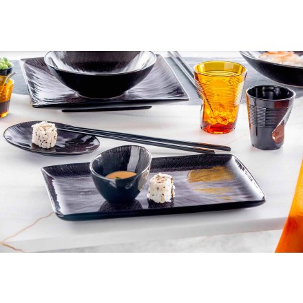 Dinnerware Set 28 bucăți de design modern complet din porțelan negru - Skar