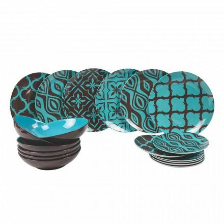 Dinnerware Set portelan modern de porțelan colorat 18 piese - Timesquare