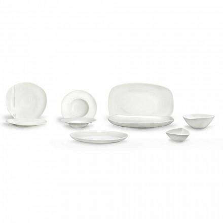 Set de veselă din porțelan alb, 23 piese Design modern și elegant - Nalah