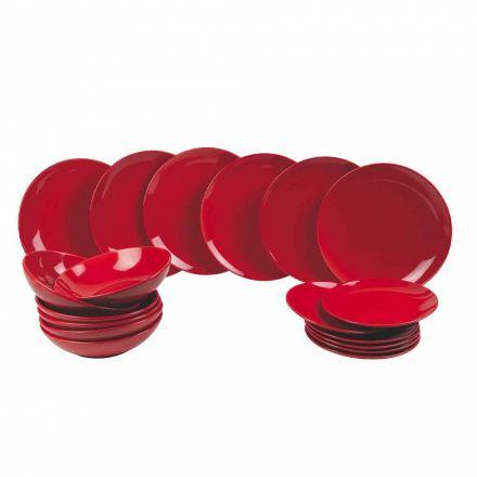 Farfurii de Crăciun roșii din gresie 18 piese Tradiție și eleganță - Rossano