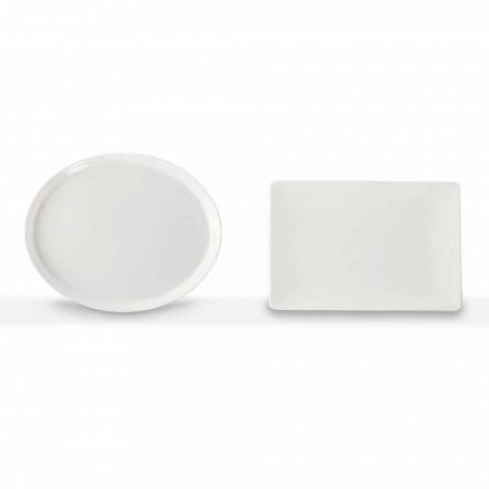 Plăci de cină Set ovală și dreptunghiulară 3 bucăți din porțelan - Egle