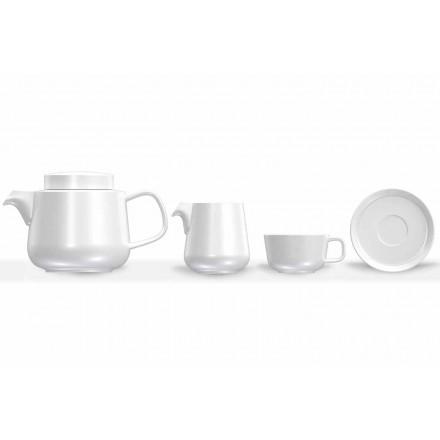 Serviciu de pahare și farfurii de porțelan, ceainic de porțelan și ulcior de lapte 14 bucăți - Arctic