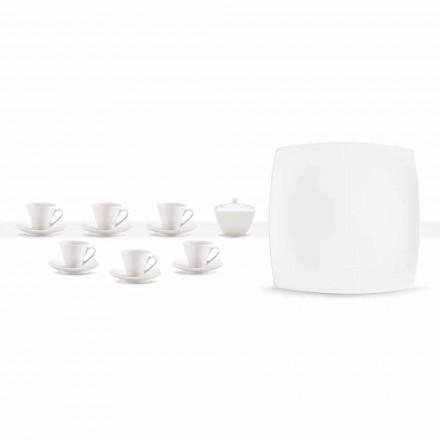 Cești de cafea albe din porțelan Serviciu de design modern 8 bucăți - Duomo