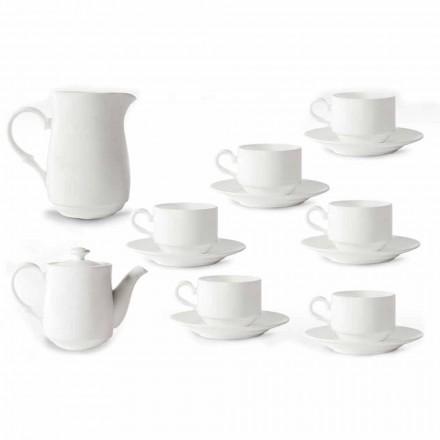 Cupe de cappuccino alb din porțelan Serviciu 14 bucăți de mic dejun - Samantha