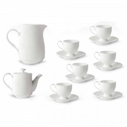 Cupe Cappuccino Service cu picior 14 piese în porțelan alb - Armanda