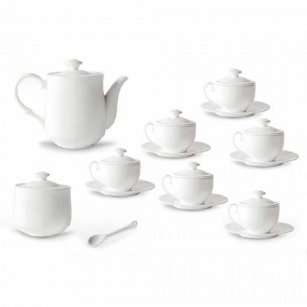 Set de pahare de ceai din porțelan alb 21 bucăți cu capac - Samantha