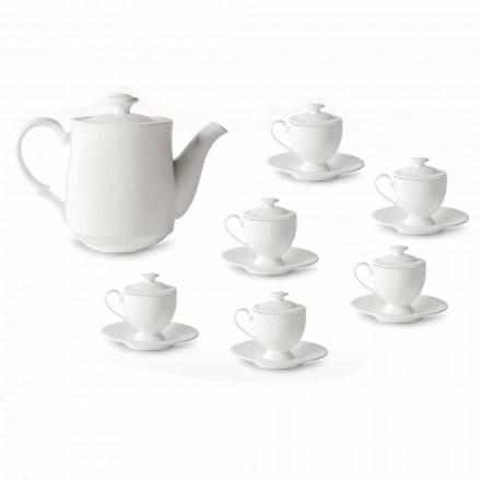 Serviciu de pahare de cafea cu picior și capac 19 piese în porțelan - Armanda