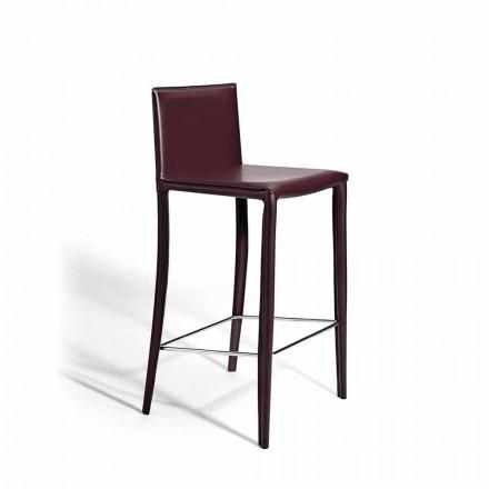 Scaun din oțel pictat tapițat din piele modernă, 2 bucăți - cușcă