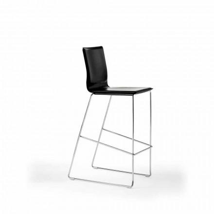 Scaun Design Stackable din Oțel, Lemn, Piele, Piele Faux sau Piele, 2 bucăți