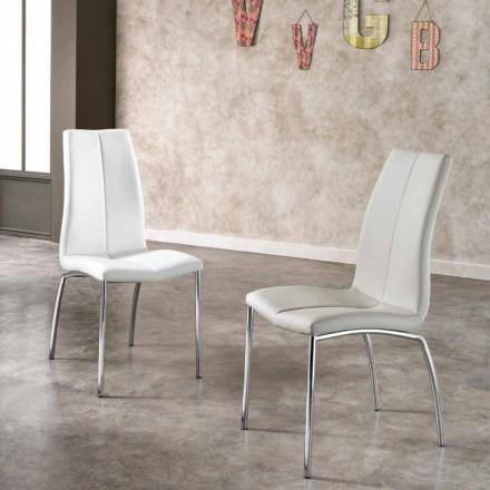 4 septembrie scaune moderne de design din piele faux și crom metalic Alba
