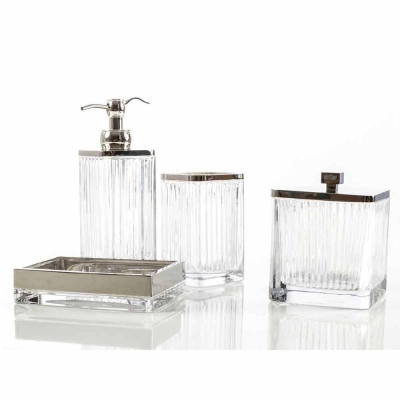 Baie modernă pentru blaturi și accesorii amplasate în sticlă și metal Priola