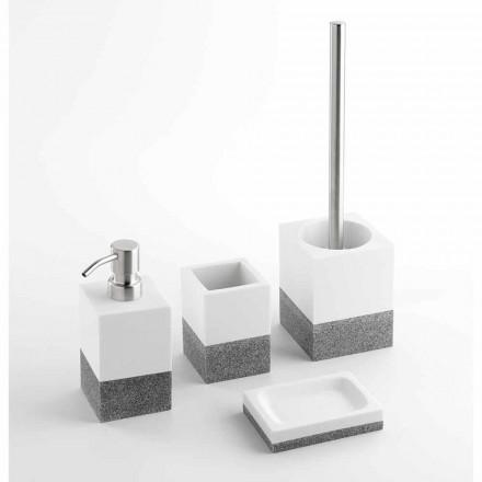 Set de accesorii pentru baie de design în rășină albă și gri - Saeda