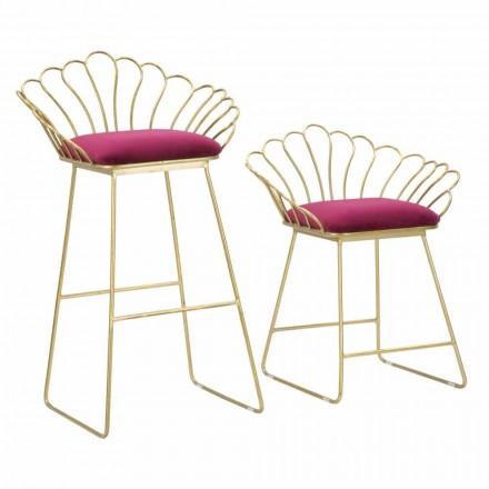 Pereche de scaune colorate cu design modern în fier și poliester - Malika