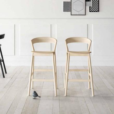 Scaun înalt de bucătărie cu structură din lemn de frasin Fabricat în Italia - Oslo