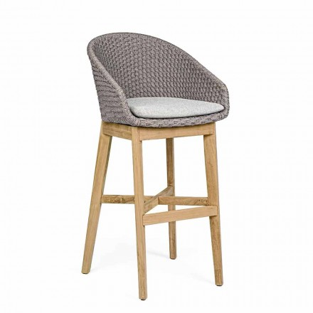 Scaun în aer liber din frânghie și lemn de tec, Homemotion, 2 bucăți - Anitha