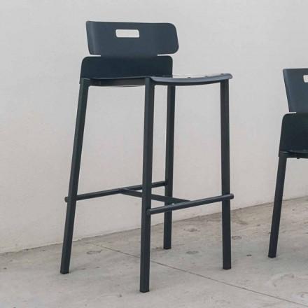 Scaun cu design înalt pentru exterior în aluminiu Fabricat în Italia - Dobla