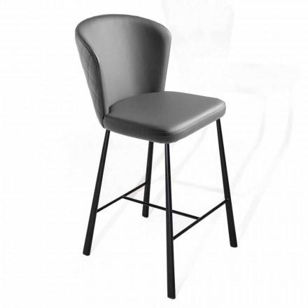Scaun înalt acoperit în piele ecologică cu structură din metal negru - Adina
